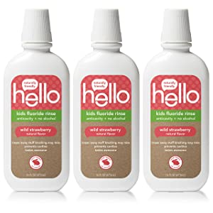 Hello Oral Care Kids ADA Approved Anticavity Fluoride Rinse, Vegan, Alcohol Free, and SLS Free, Natural Wild Strawberry Flavor, 16 Fl Oz (Pack of 3)