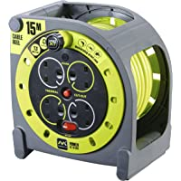 Masterplug HMU15134SL-PX Cassette Reel, 13A Fused, 4 Socket 15m Cable Length, Green Grey
