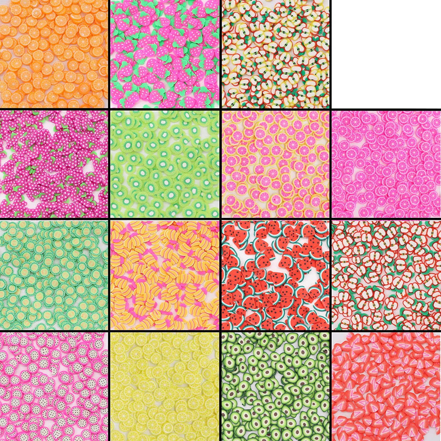 Crafare 5000 PC Nail Art Slices 3D Fruits Animals Flowers Cake Heart Stickers Polymer Slices for Christmas Holiday DIY Crafts, Slime Making and Cellphone Decoration