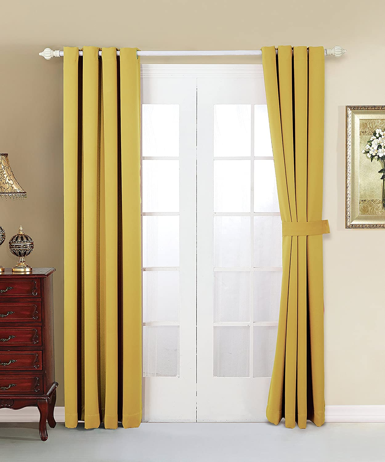 Serenta 4 Piece Grommet Darkening Thermal Insulated Blackout Window Panel Curtain Jojoba Yellow