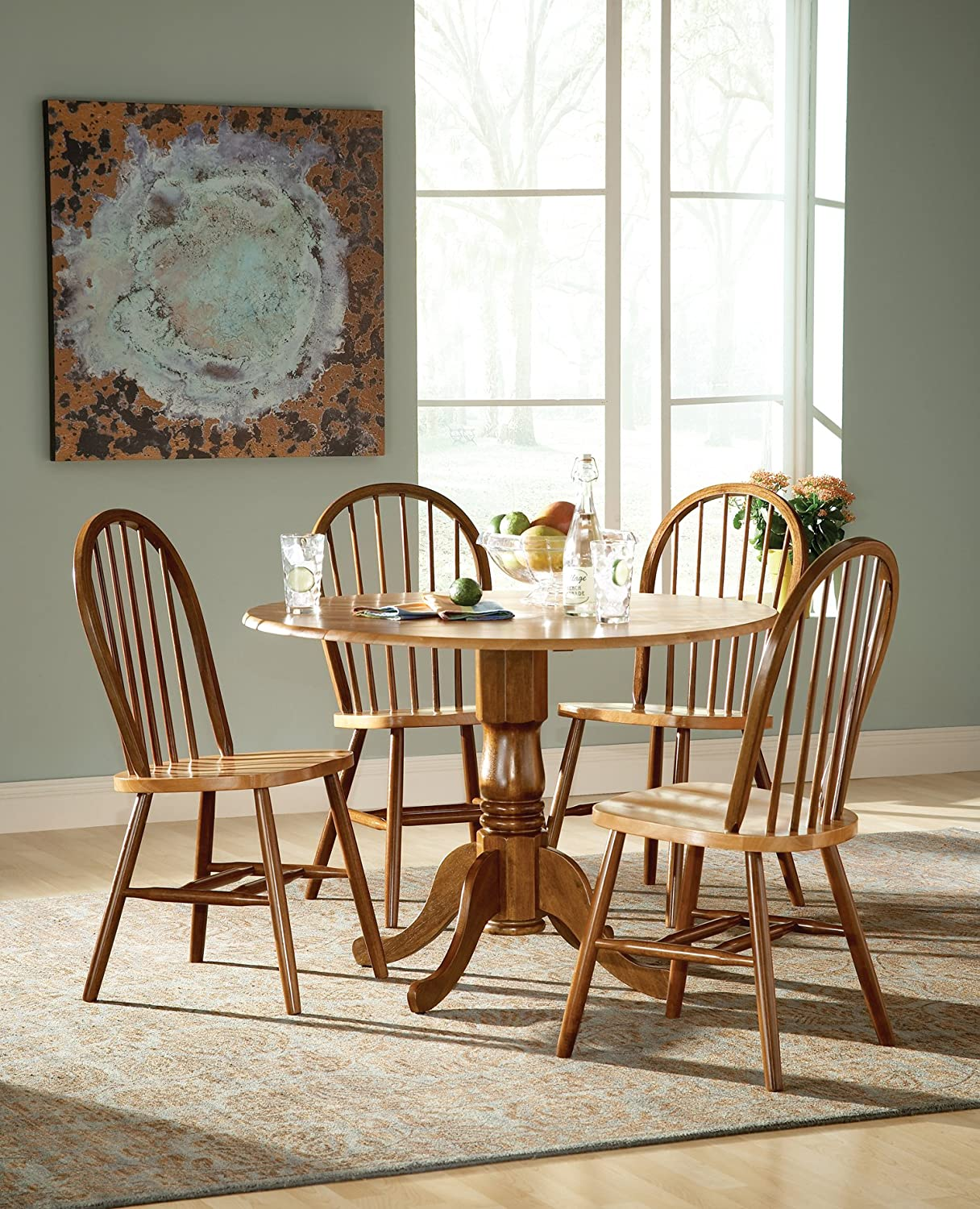 International Concepts 5 Piece 42 Dual Drop Leaf Pedestal Table with 4 Windsor Chairs, Cinnamon Espresso