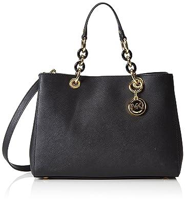 Michael Kors Cynthia Medium Leather Satchel in Black: Handbags ...