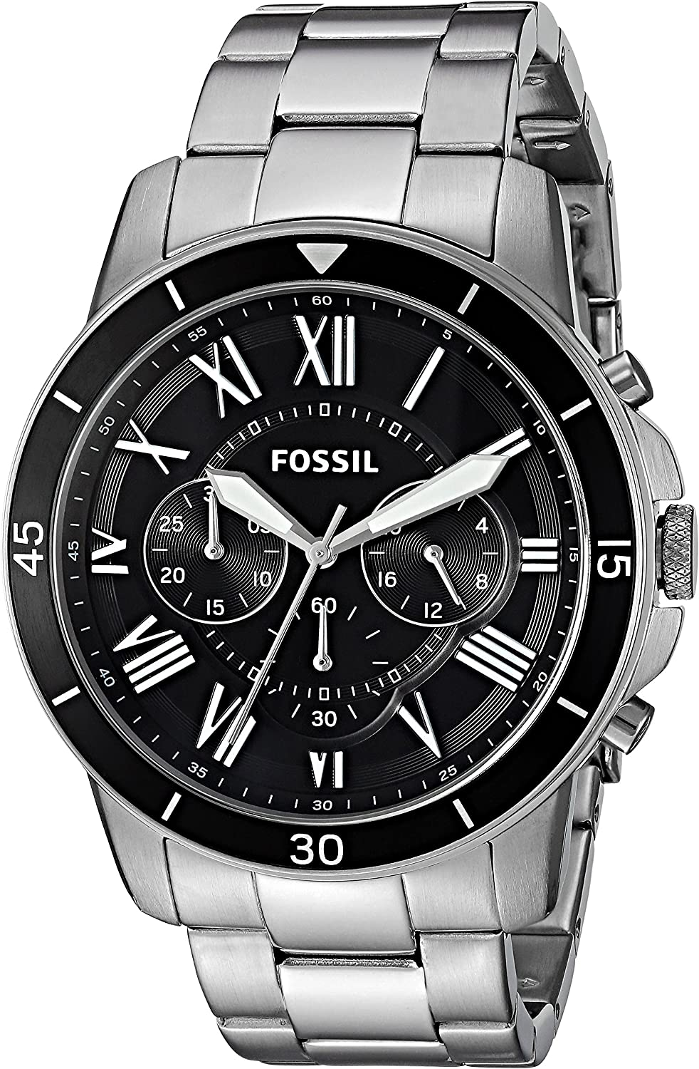 Fossil Men s 44mm Grant Sport Chronograph Stainless Steel Watch