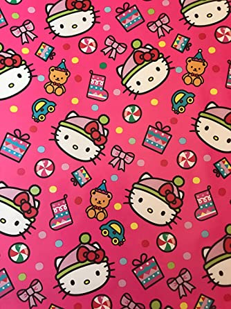 amazoncom hello kitty christmas wrapping paper hello kitty wrapping paper hello kitty gift wrap 1 roll pink hello kitty 45sqft clothing