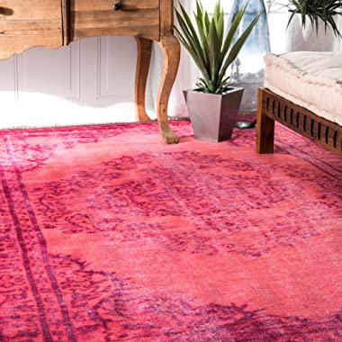 nuLOOM 100-Percent Polyamide Machine Made Chroma Overdyed Style Area Rug, 9-Feet 2-Inch by 12-Feet 5-Inch, Pink