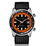 Dan Henry 1970 Automatic Diver Super Compressor 200 Meters watch. Mate Black Dial with Date, Double Crown and Inner Rotating Bezel, Limited Edition, 44mm Stainless Steel Case, Black Rubber Strap