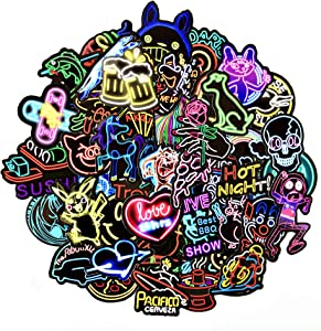 50PCS Sticker Pack Decals Neon Lights Sticker Cute Animal Food Graffiti Stickers for Laptops Book Guitar Decor No-Duplicate
