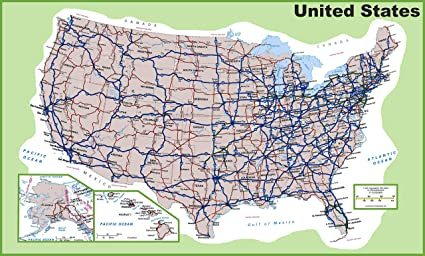 Amazoncom Home Comforts Laminated Map Usa Road Map Best Southern - Southern-us-map-with-cities