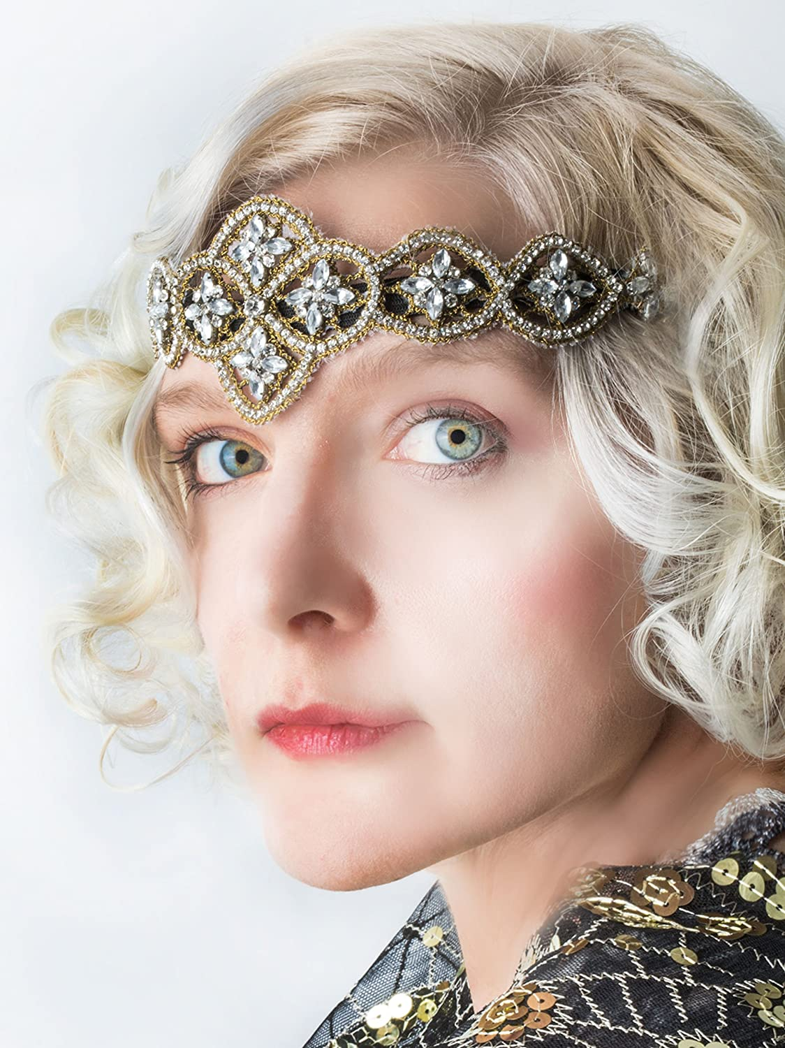 1920s Flapper Headbands Indira Headband Gold & Crystal beaded headband Boho Headpiece $19.95 AT vintagedancer.com