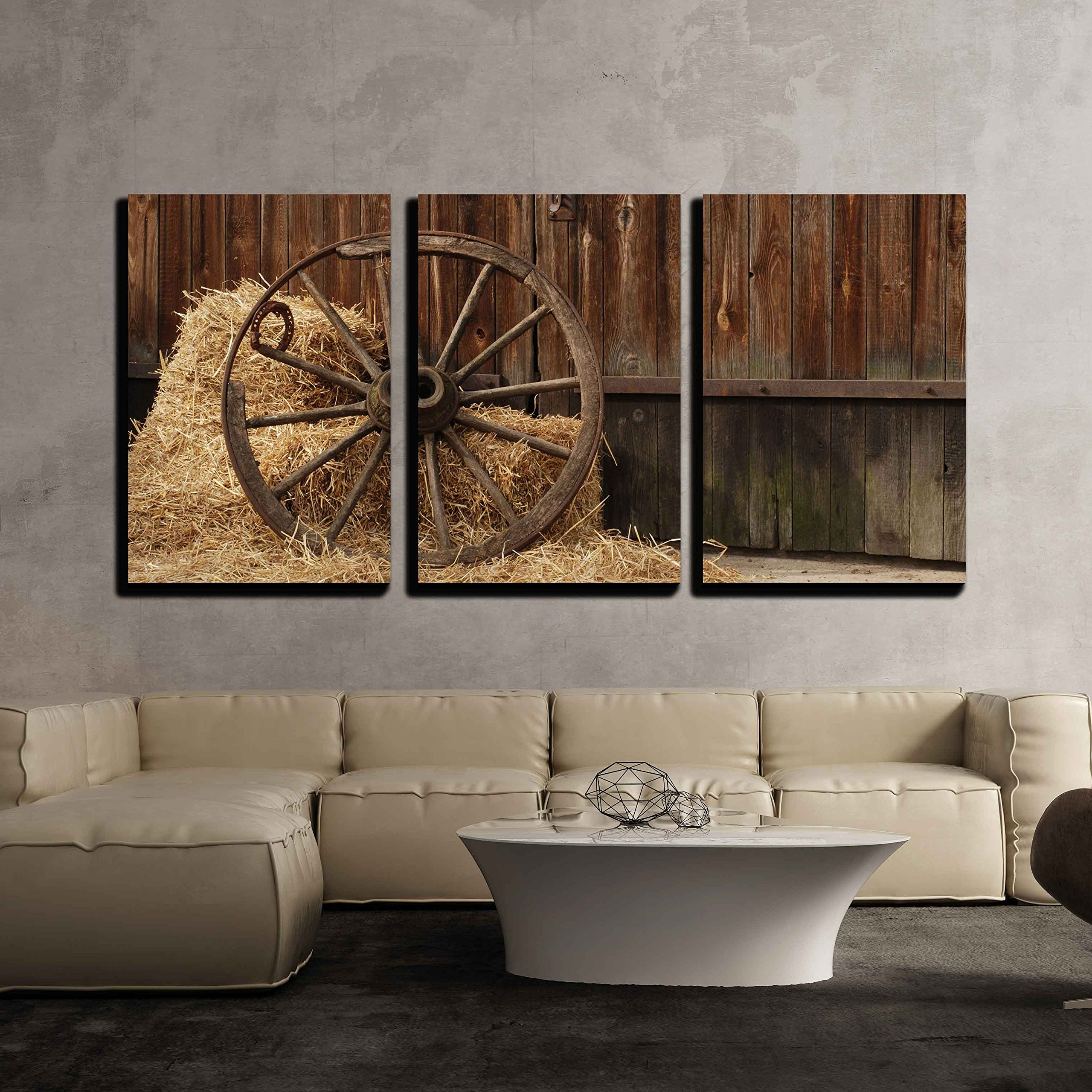 """wall26 - 3 Piece Canvas Wall Art - The Old Antique Wheel from cart on Background of hay and barn - Modern Home Art Stretched and Framed Ready to Hang - 16""""x24""""x3 Panels"""