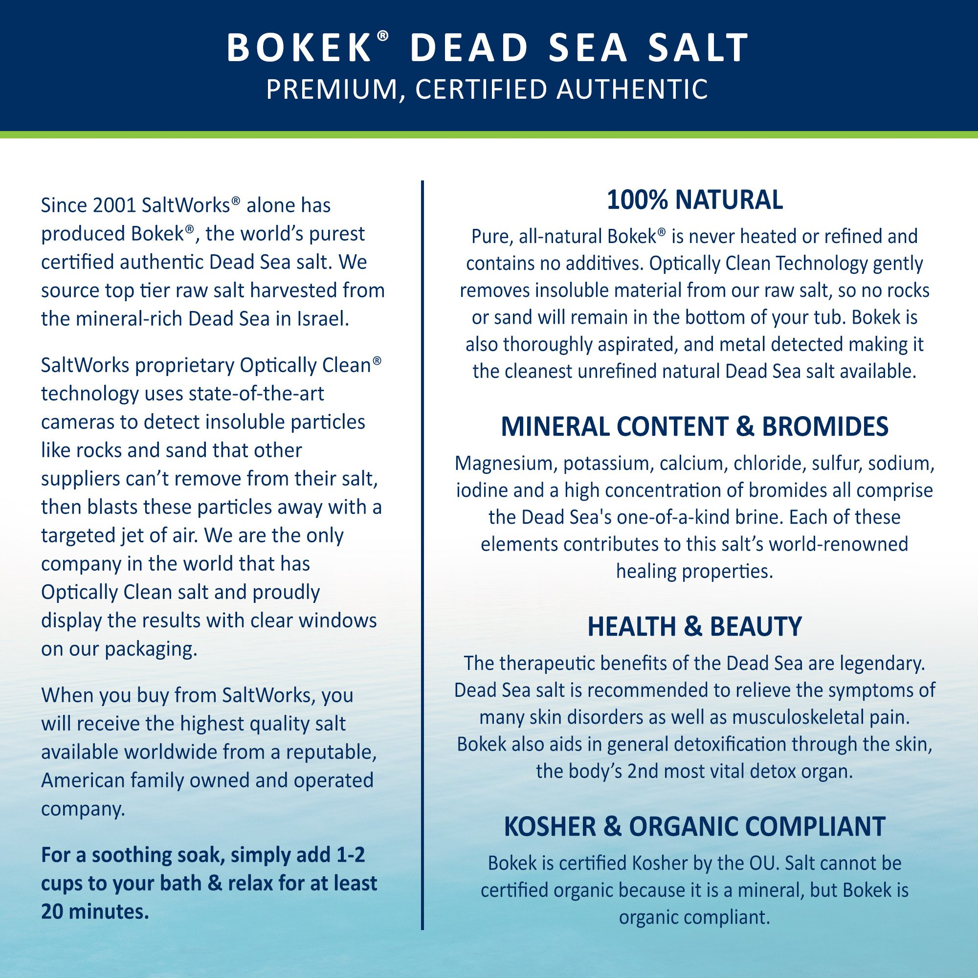 Bokek Dead Sea Salt, Fine - 55 lb Bag by SaltWorks (Image #3)