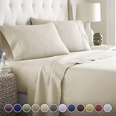 Hotel Luxury Bed Sheets Set-- 1800 Series Platinum Collection-Deep Pocket, Wrinkle & Fade Resistant(Queen,Cream)