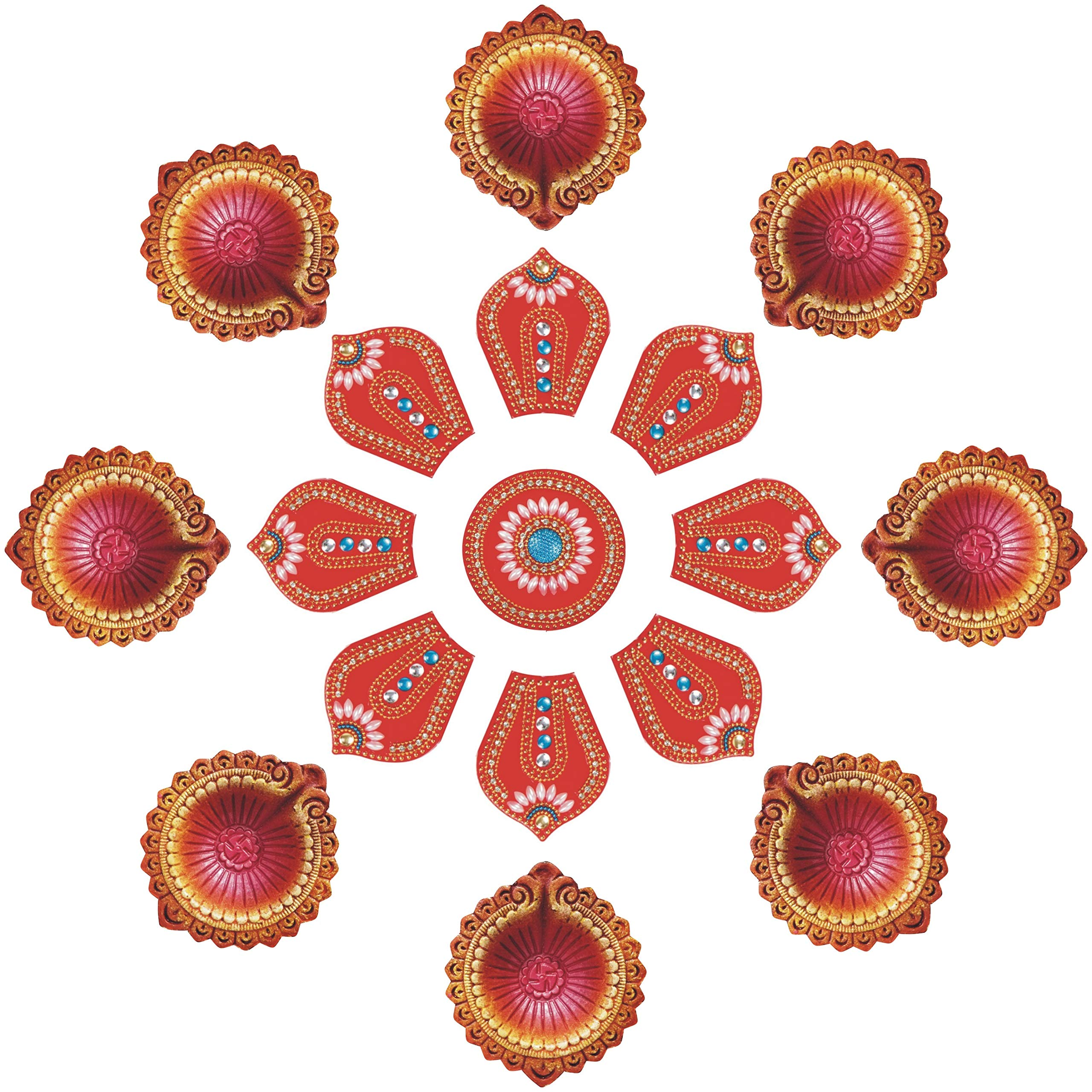Ramya Exclusive Combo of Handcrafted Vibrant Rangoli with a Set of 10 Handpainted Clay Diyas/Oil Lamps - Ideal for Diwali/Christmas / Festival Decoration and Gifting (7282D)