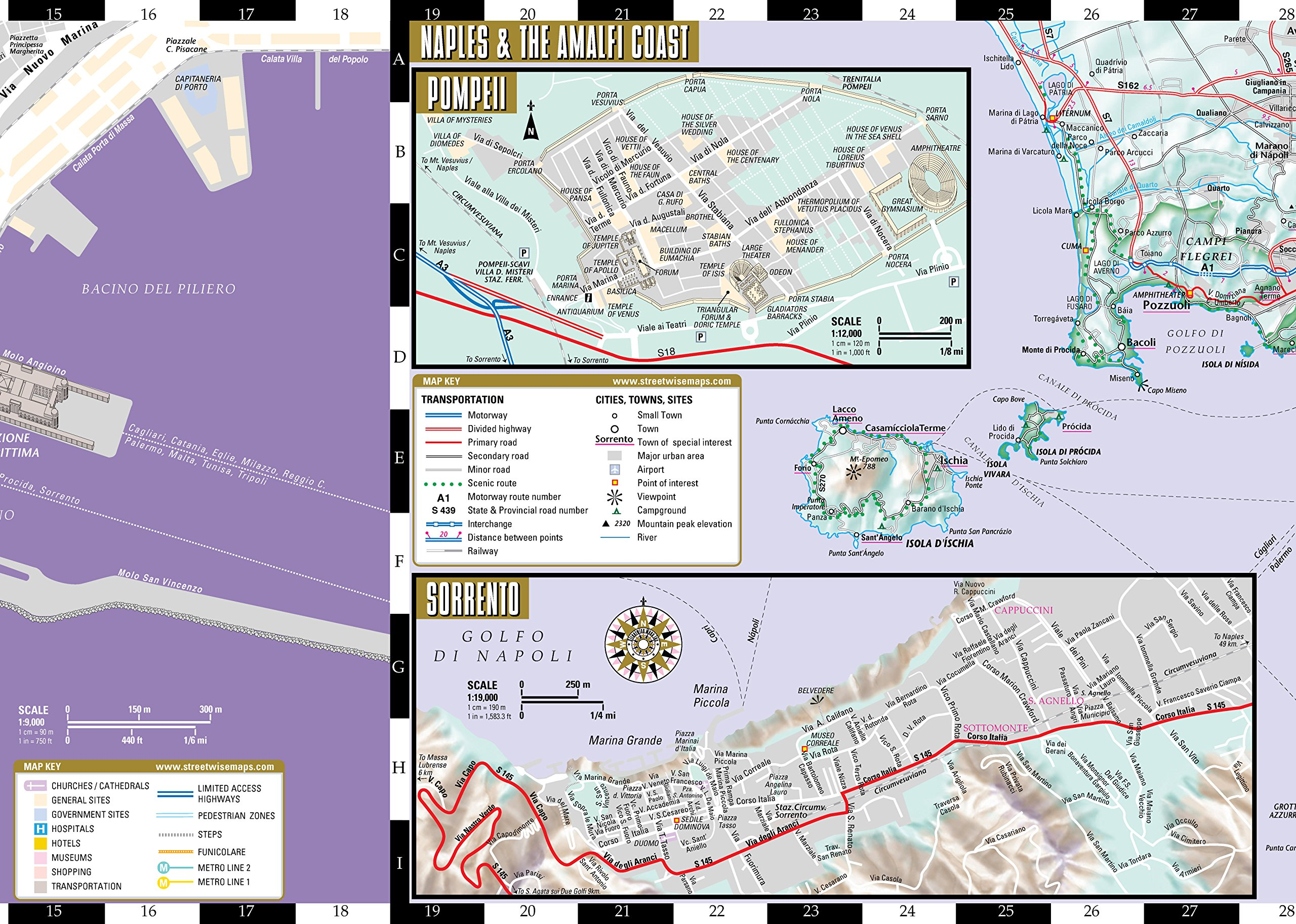 Napoli Subway Map.Streetwise Naples Map Laminated City Center Street Map Of Naples