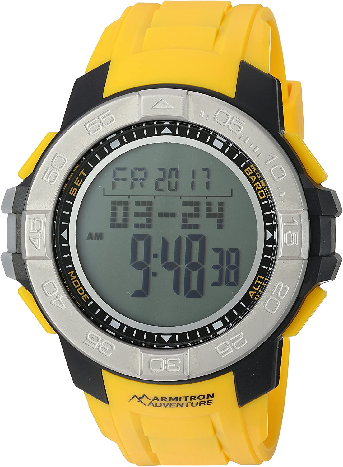 Armitron Adventure Men s AD 1011YLW Digital Multi-Function Yellow Resin Strap Sport Watch