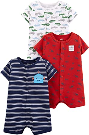 Private Label 3PKSUR-1 Simple Joys by Carters Baby Boys 3-Pack Snap-up Rompers Carter/'s Simple Joys