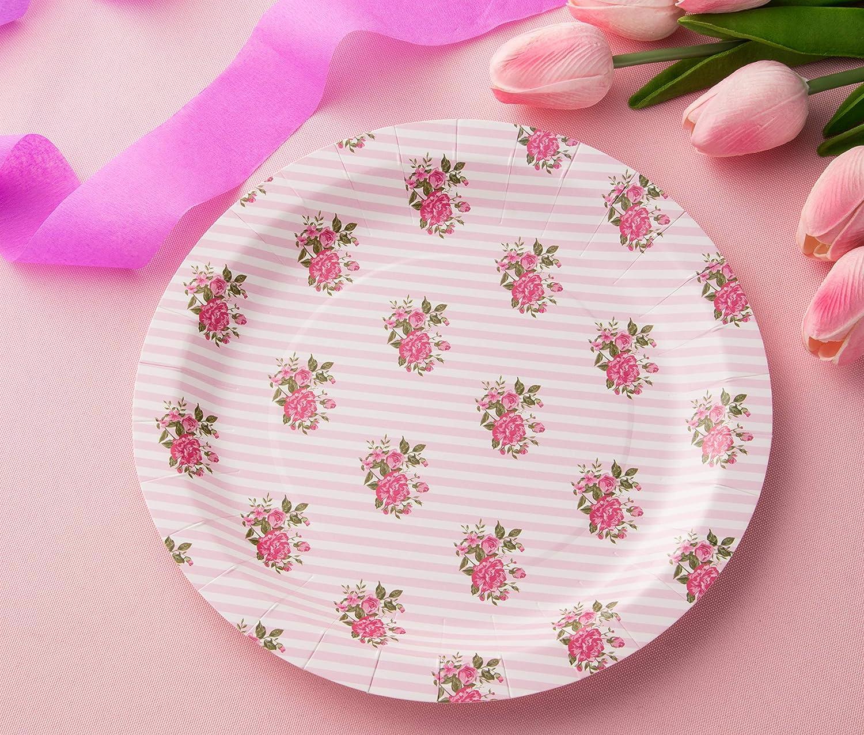paquete de 80 - Dise/ño vintage rosa rosa 9 pulgadas de di/ámetro Juvale Platos de papel desechables