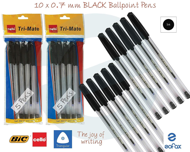 SAINO Tri-Grip 0.7mm Tip Fine BLACK BLUE Smooth Ballpoint Pens Triangular Grip