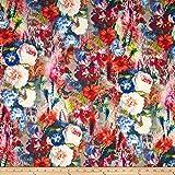 Telio Marni Scuba Knit Floral Print Cream/Magenta/Orange/Black Fabric By The Yard