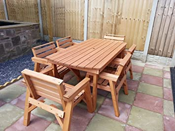 Solid Wooden Garden Furniture Set. 6' Table & 6 Chairs: Amazon.co.uk