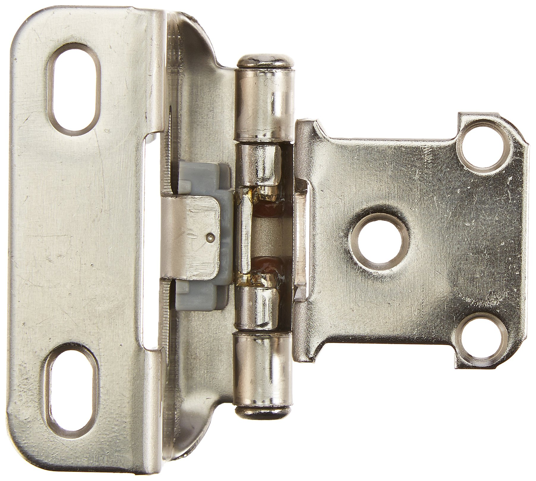 1/2in (13 mm) Overlay Self-Closing, Partial Wrap Nickel Hinge - 2 Pack by Amerock (Image #1)