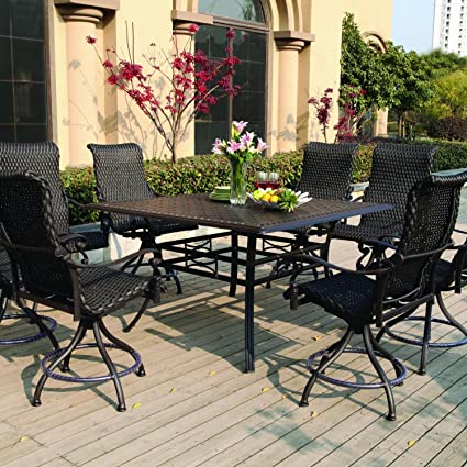 Darlee Victoria 9 Piece Resin Wicker Counter Height Patio Dining Set With  Swivel Chairs