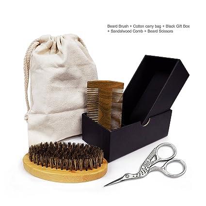 Kit de cuidado de la barba – Cepillo de cerdas de jabalí + doble acción sándalo