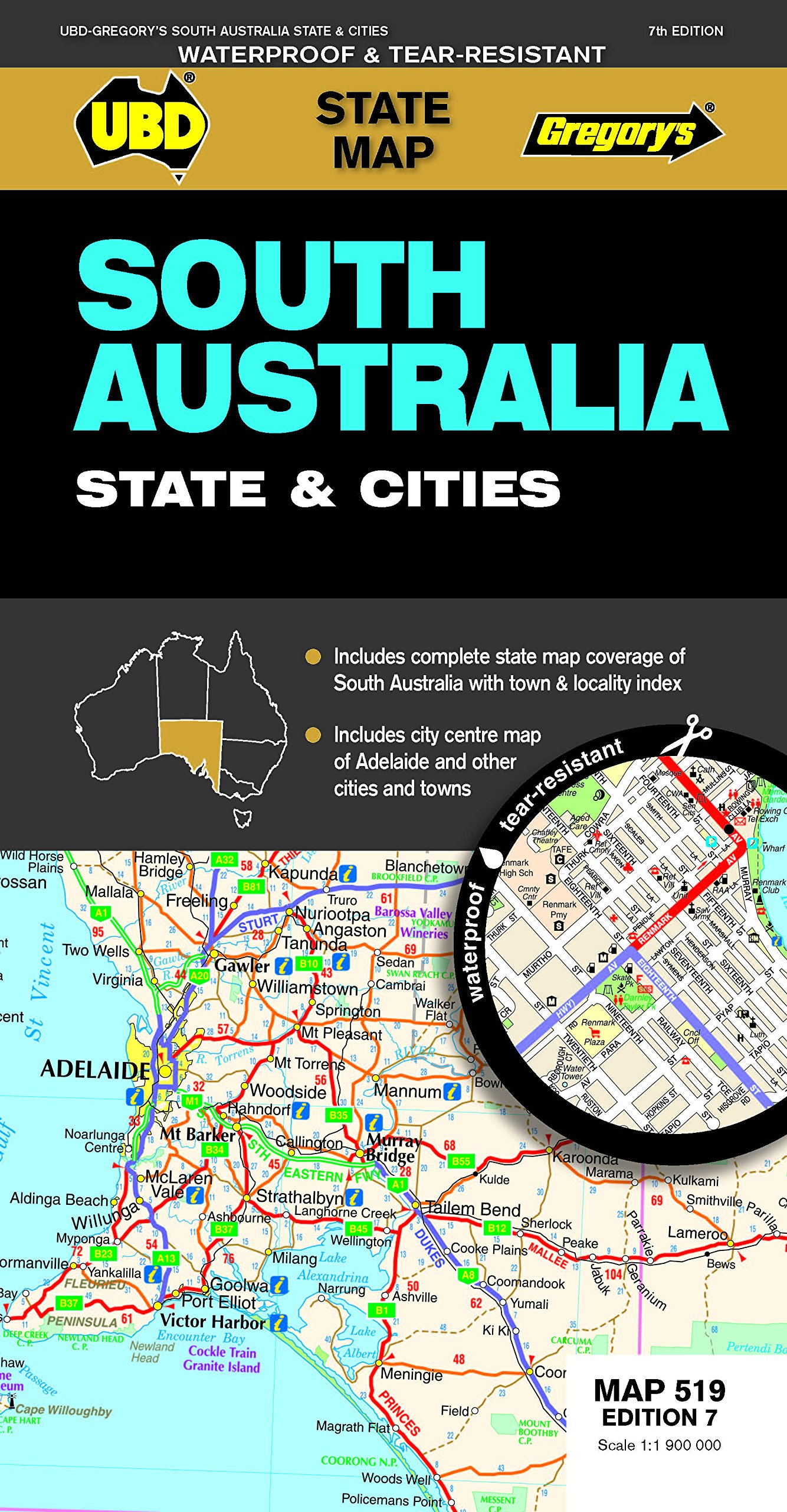 South Australia State Cities Map 519 7ed: 9780731930586 ... on map of broome australia, map of uk, map of africa with capitals, map of sydney, map queensland australia, map of townsville australia, map of austria, map western australia, costa rica map with cities, map of asia, map of france, map of north island new zealand, map of melbourne australia, map of new zealand and surrounding countries, map of oceania countries, map of india, map of australia new zealand, map of european countries, map australia major cities, indonesia map with cities,