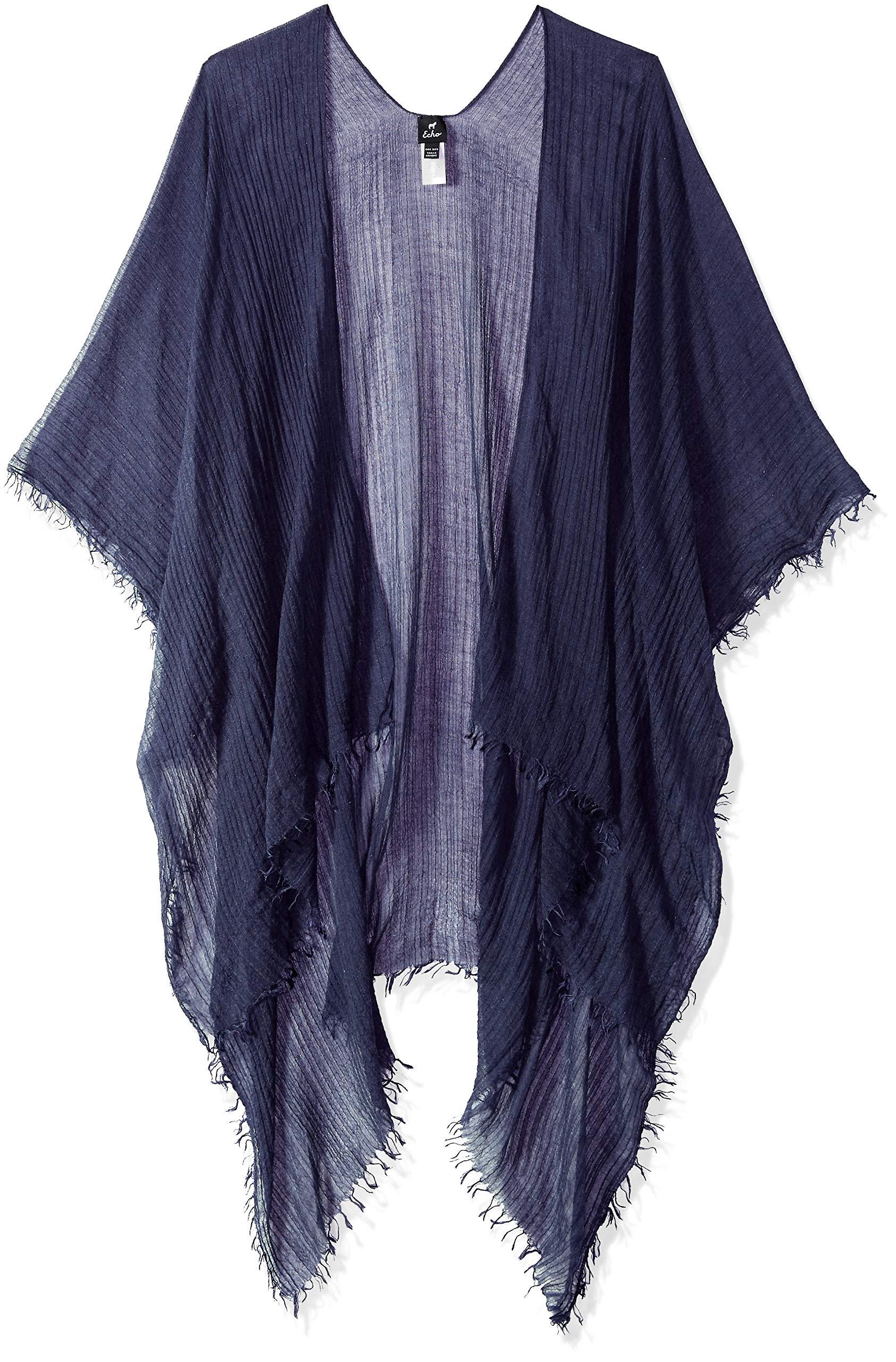 Echo Women's Tissue Weight Ruana, navy, One Size by Echo Design