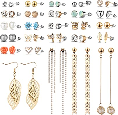 36Pairs New Style Women Girl Fashion Party Beauty Crystal Ear Stud Earring Set Necklace Jewelry Crafting Key Chain Bracelet Pendants Accessories Best Style 5 Color