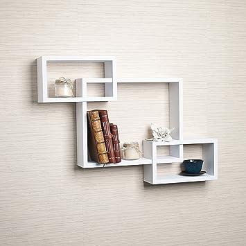 Danya B  Intersecting White Laminate Wall Shelf. Amazon com  Danya B  Intersecting White Laminate Wall Shelf  Home