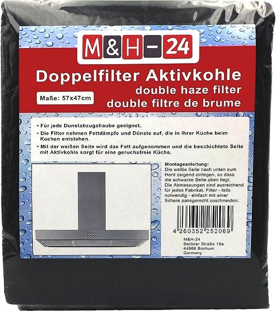 Filtro Campana Extractora Universal con Carbón Activo - Juego de Filtro de Carbono Activo y de Grasa, Filtro Universal para Cualquier Tipo de Campana, 57 x 47 cm, 1 Piezas: Amazon.es: Hogar