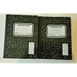 Top Flight Sewn Marble Composition Book, Black/White, Quad Rule, 4 Squares per Inch, 2 Books, 100 Sheets Per Book