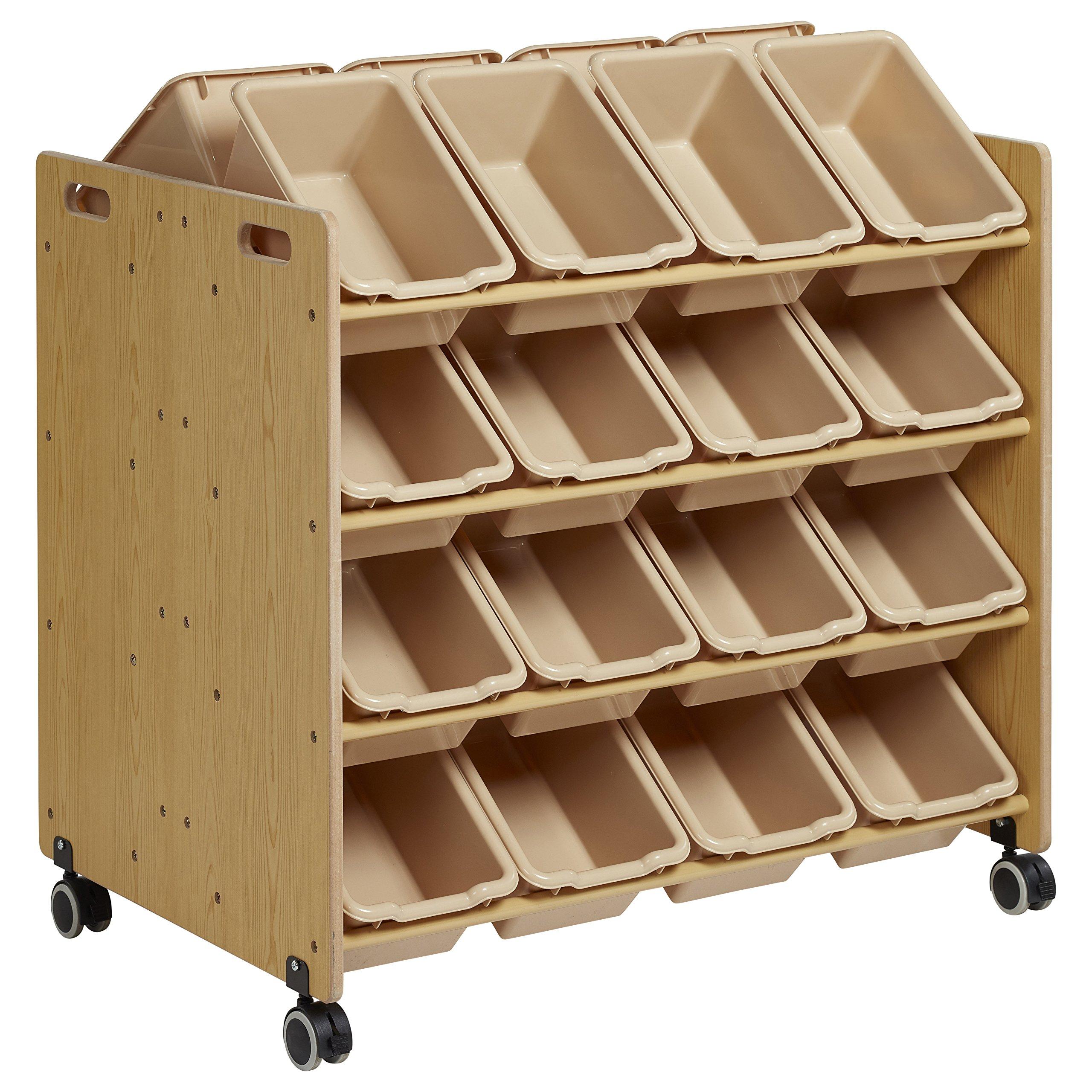 ECR4Kids Double-Sided Mobile Storage Organizer with 32 Bins, Sand with Sand Bins