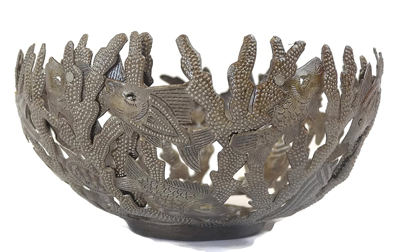 Handmade Metal Bowl Sea Life Design Fruit Bowl 7 x 12 x 12