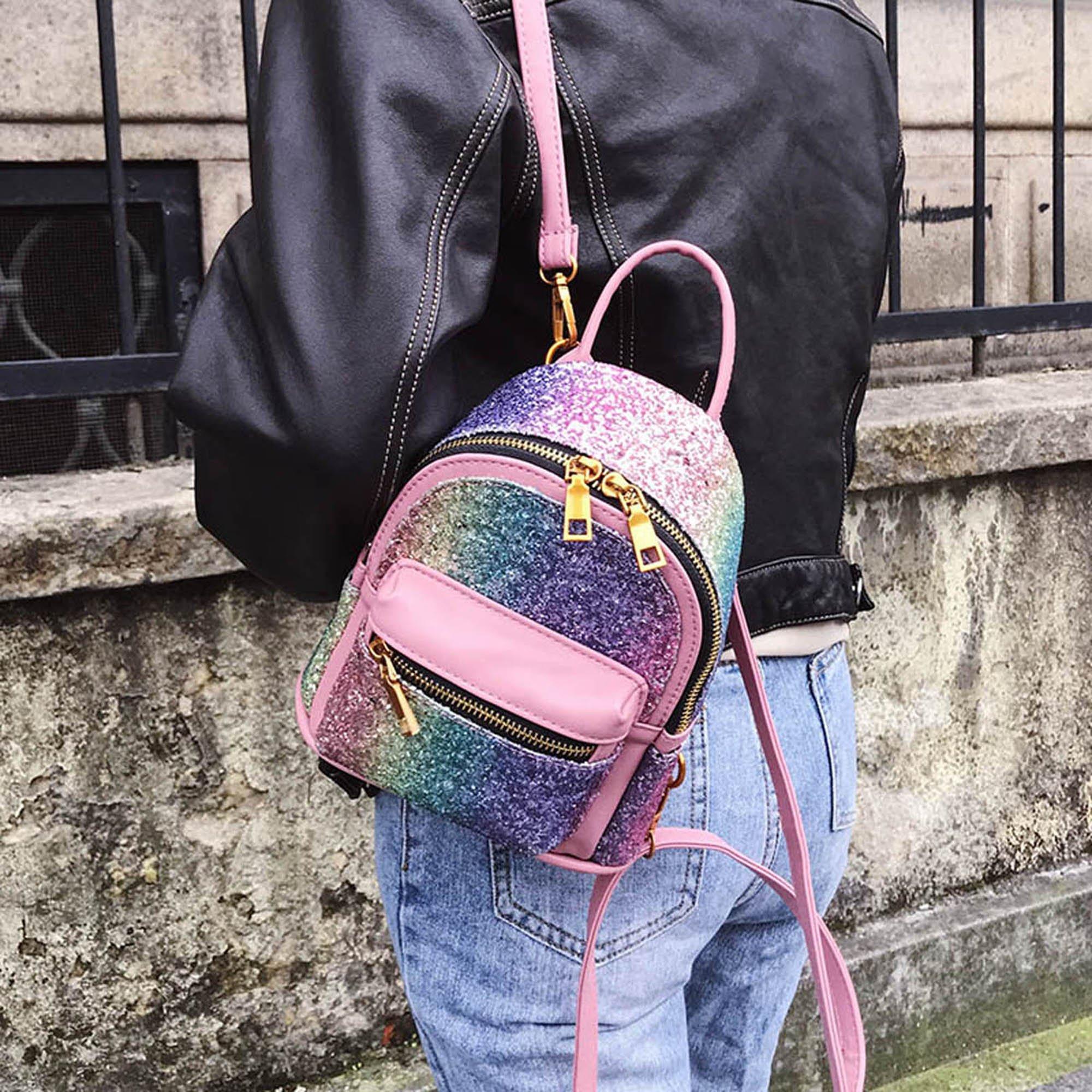 Girls Bling Mini Travel Backpack Kids Children School Bags Satchel Purses Daypack (pink rainbow) by JIANBAO (Image #4)