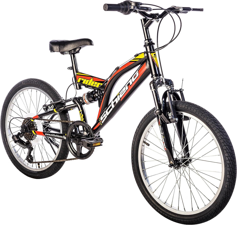 F.lli Schiano Rider Bicicleta Biamortiguada, Hombre, Negro/Rojo ...