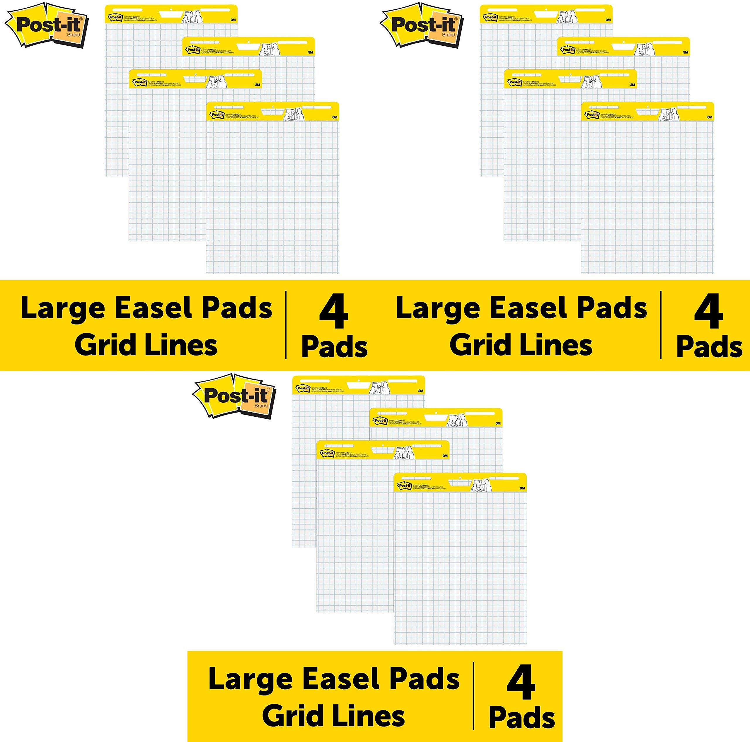 Post-it Easel Pad, 25 in x 30 in, 4 Pads per Pack, Blue Grid (560 VAD 4PK) Pack of 3 by Post-it