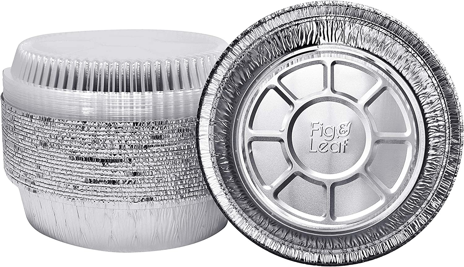 (45 Pack) Premium 8-Inch Round Foil Pans with Plastic Dome Lids l Heavy Duty l Disposable Aluminum Tin for Roasting, Baking, or Cooking