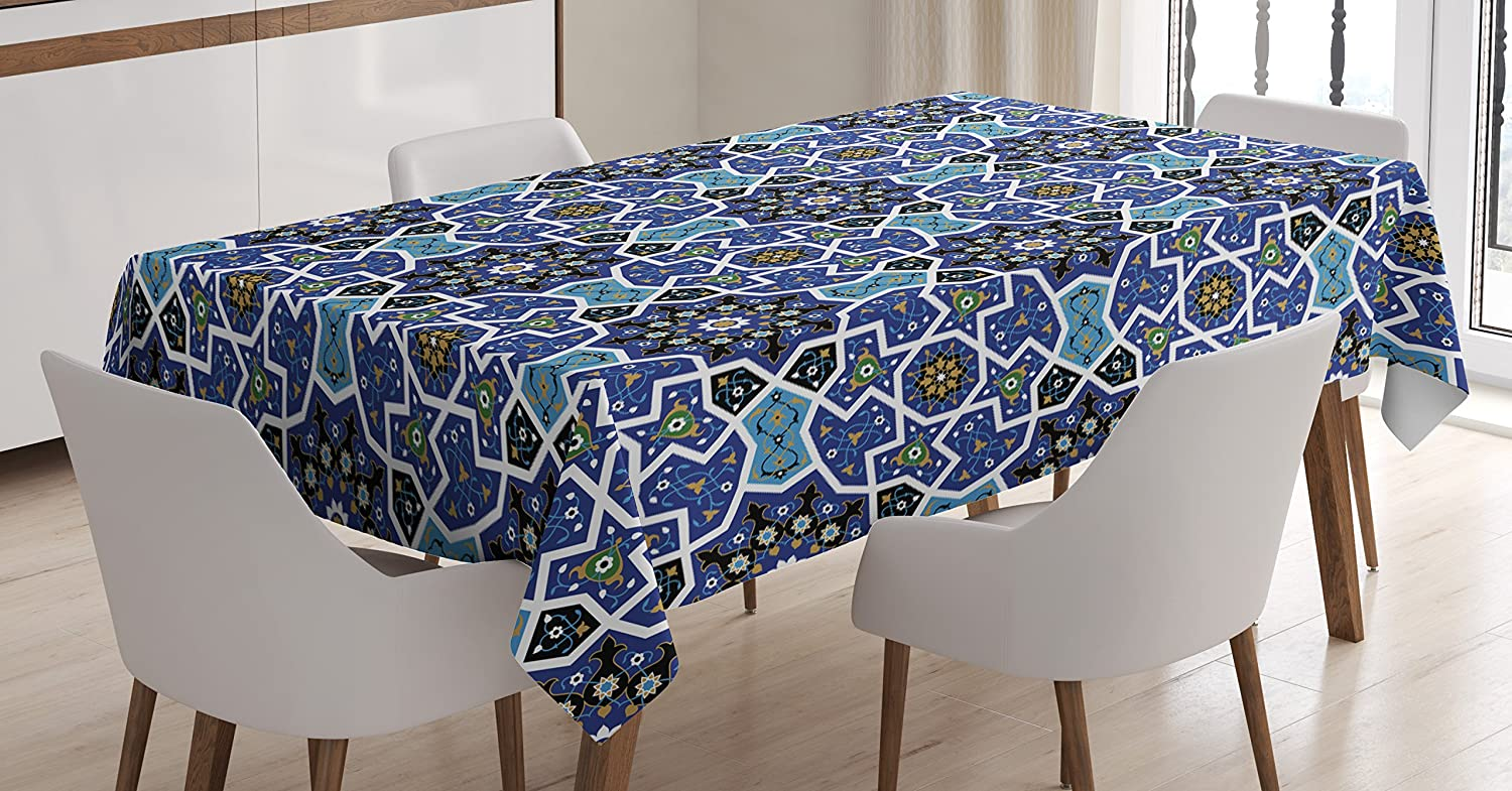 """Ambesonne Moroccan Tablecloth, Eastern Persian Gypsy Jacquard Style Culture Folk Tracery Geometric Image, Rectangular Table Cover for Dining Room Kitchen Decor, 60"""" X 84"""", Blue"""