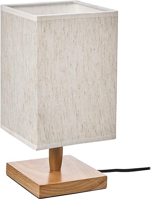 11.2 UMI Table Lamp Fabric Shade with Rectangular Wood Base
