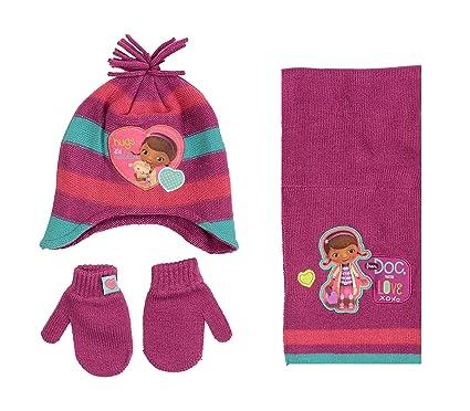 NEW Toddler Girls Beanie Hat Mittens Set Purple Disney Doc McStuffins Knit Cap