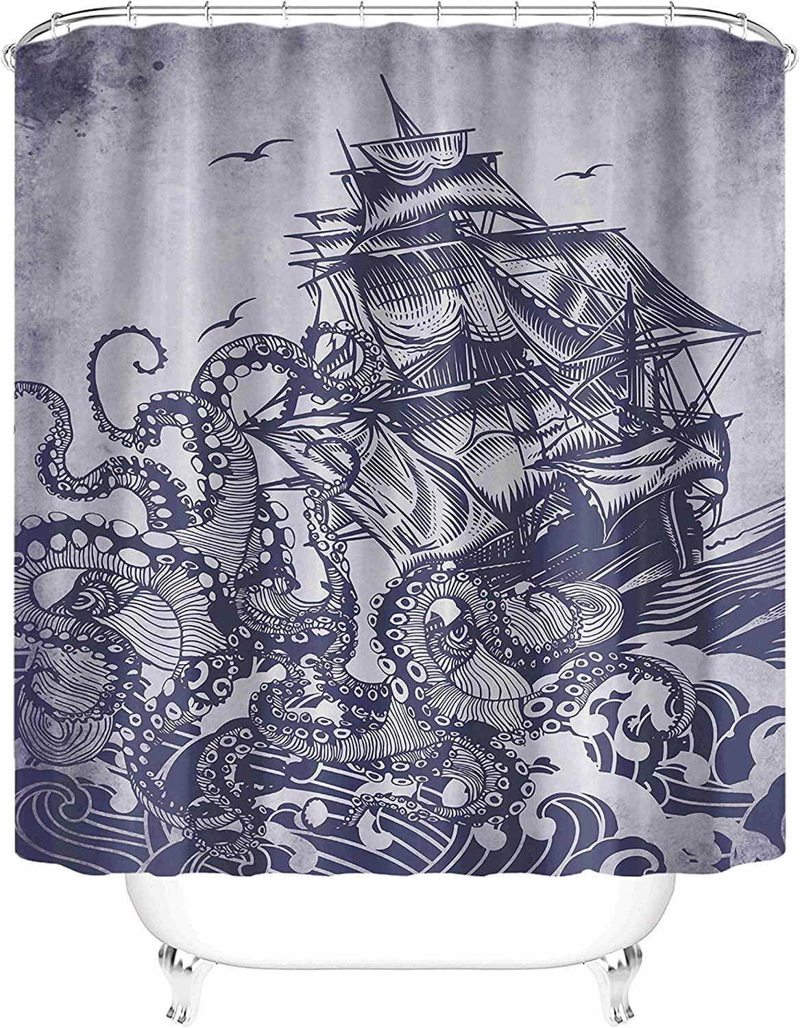 Taysta Fabric Waterproof Shower Curtain Curtains with Hooks Kraken Octopus Tentacles with Ship Sail Old Boat in Ocean Waves 72