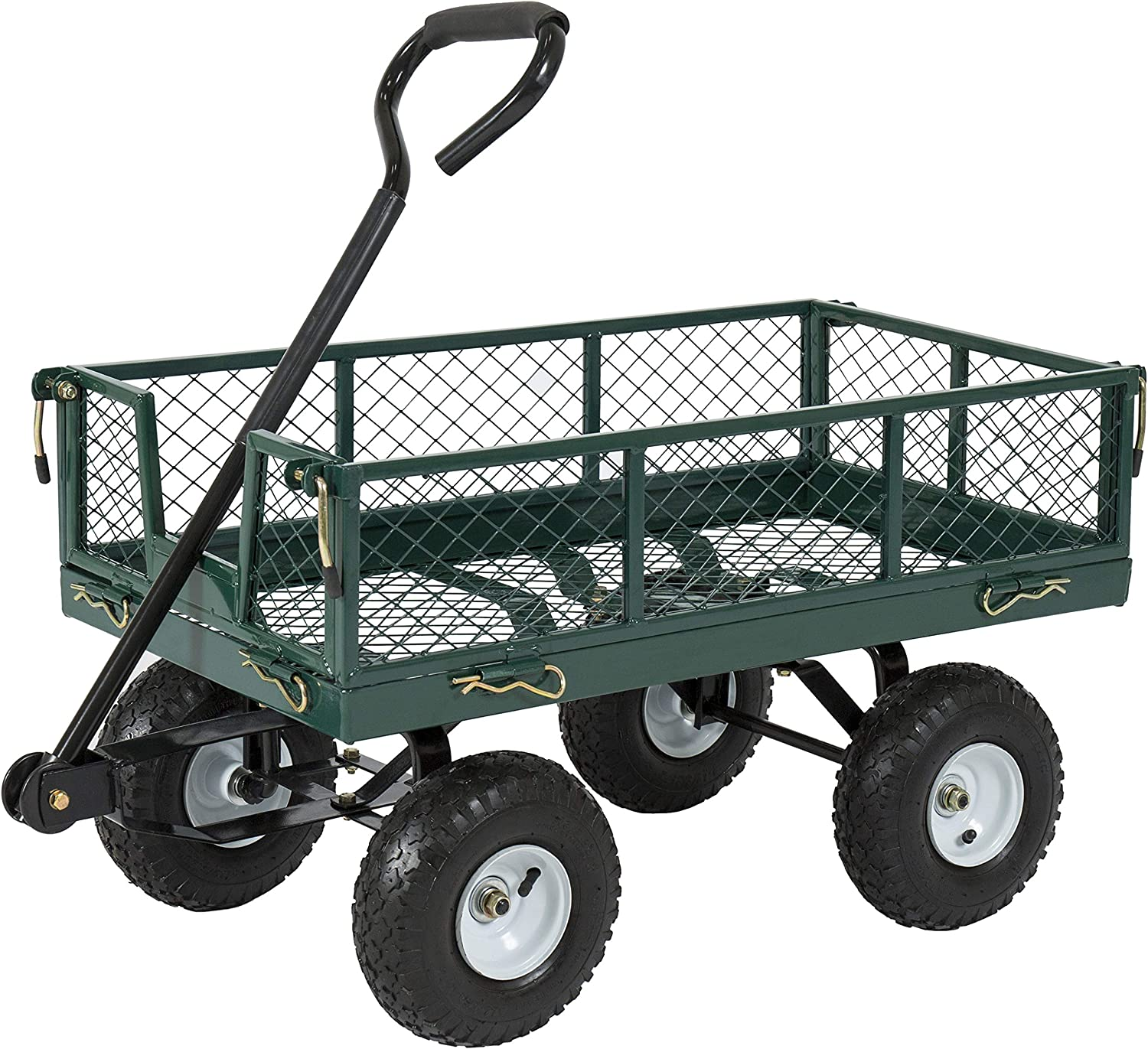 Best Choice Products Heavy-Duty Steel Garden Wagon Lawn Utility Cart w 400lb Capacity, Removable Sides, Long Handle, 10-Inch Tires