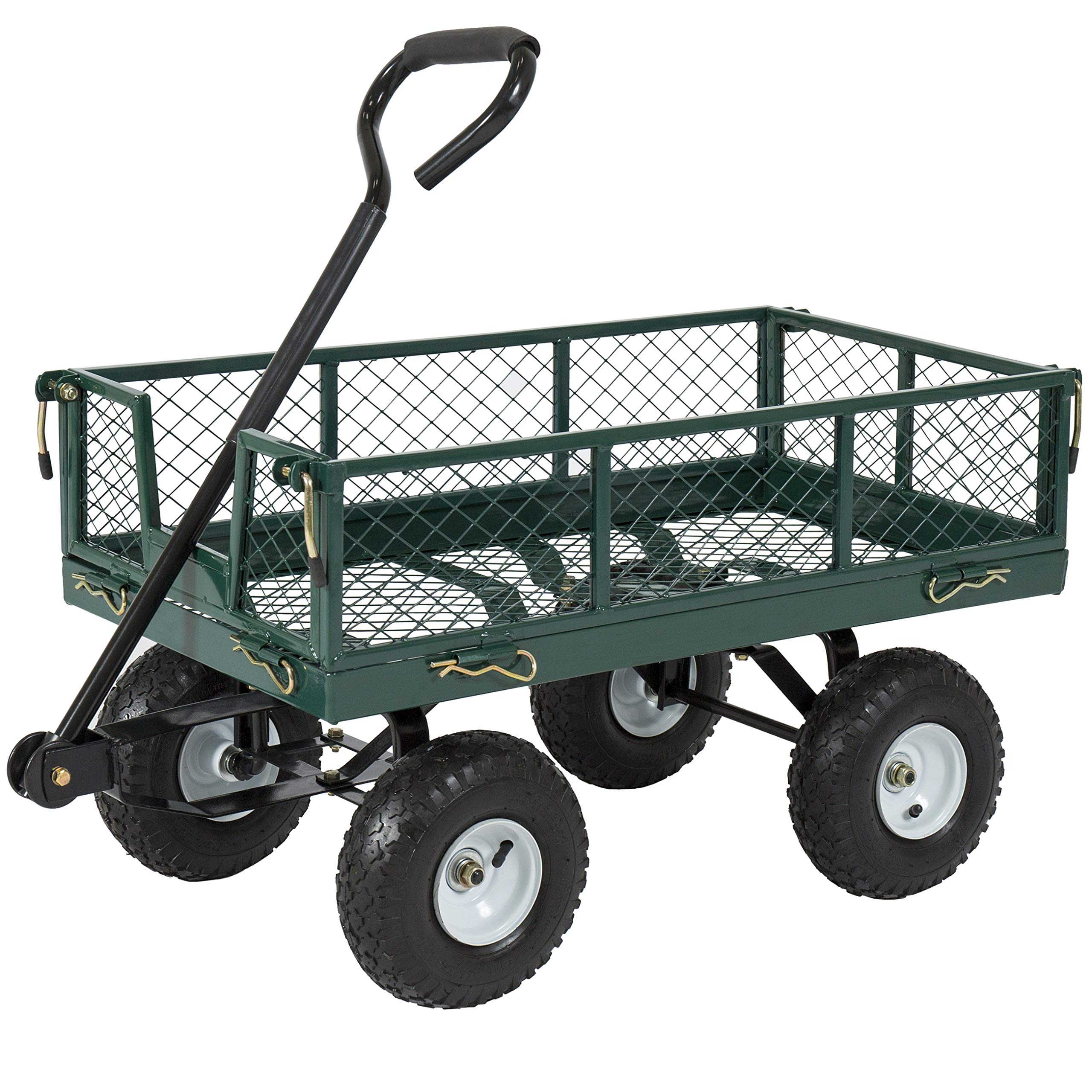 Best Choice Products Heavy-Duty Steel Garden Wagon Lawn Utility Cart w/ 400lb Capacity, Removable Sides, Long Handle, 10-Inch Tires by Best Choice Products