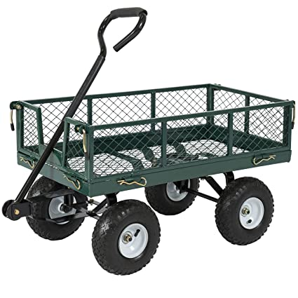 Best Choice Products Heavy,Duty Steel Garden Wagon Lawn Utility Cart w/  400lb Capacity, Removable Sides, Long Handle, 10,Inch Tires