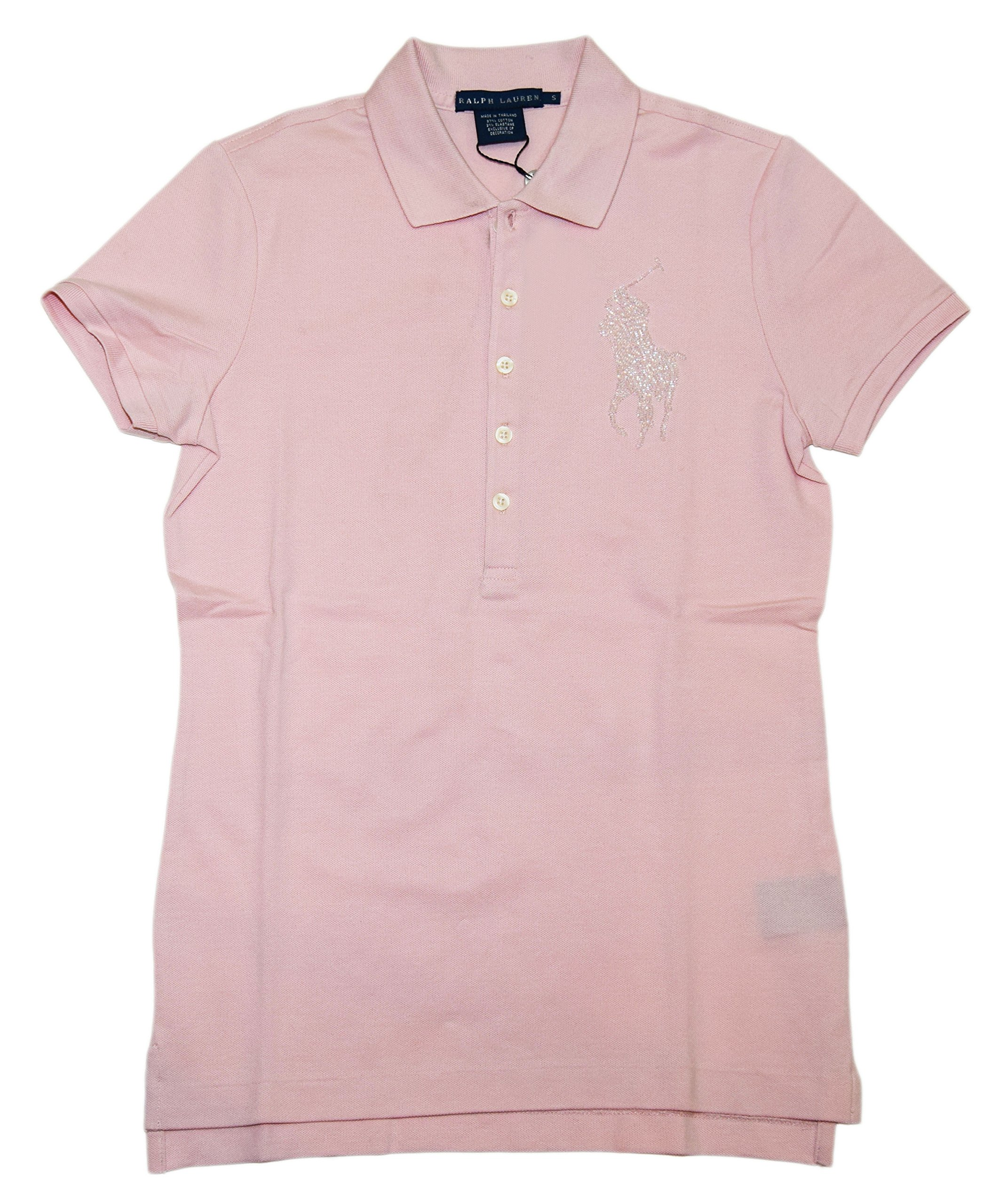Polo Ralph Lauren Womens Big Pony Beaded Short Sleeve Mesh Shirt Pink Medium