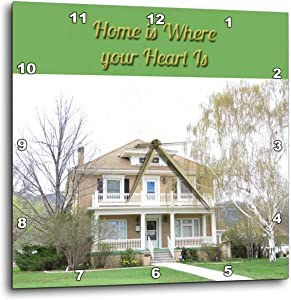 3dRose Jos Fauxtographee- Home - Home is Where Your Heart is with a Beautiful Old House - 10x10 Wall Clock (DPP_319620_1)