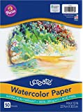 "UCreate Watercolor Paper, White, Package, 140 lb., 9"" x 12"", 50 Sheets"