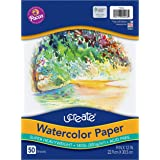 """UCreate Watercolor Paper, White, Package, 140 lb., 9"""" x 12"""", 50 Sheets"""